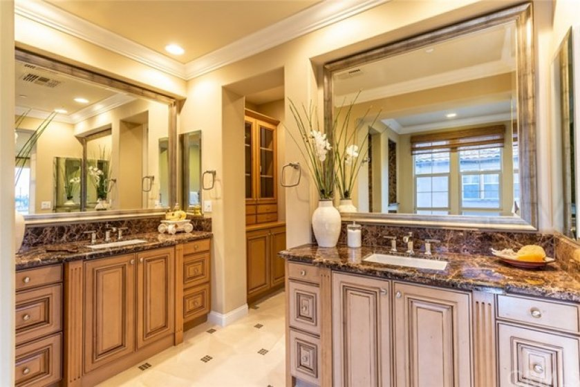 Nicely designed and ample bath which also includes large walk-in closet.