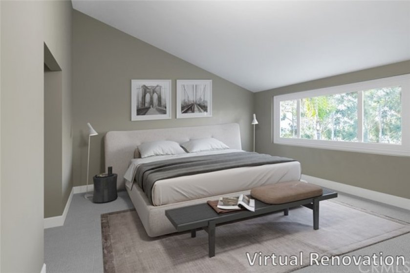 """""""Virtual renovation"""" relax in the master suite featuring two closets, built-ins, and a bay window with tennis court views."""
