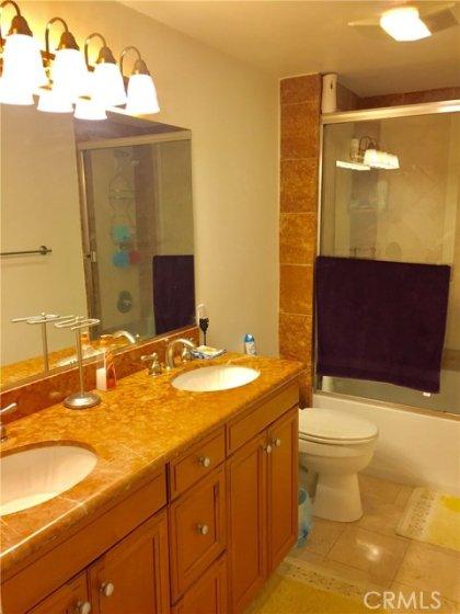 Dual vanity master bathroom.