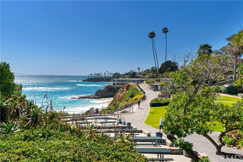 Close By Picnic Tables at Heisler Park. Magnificent white water view of Diver's Cove.