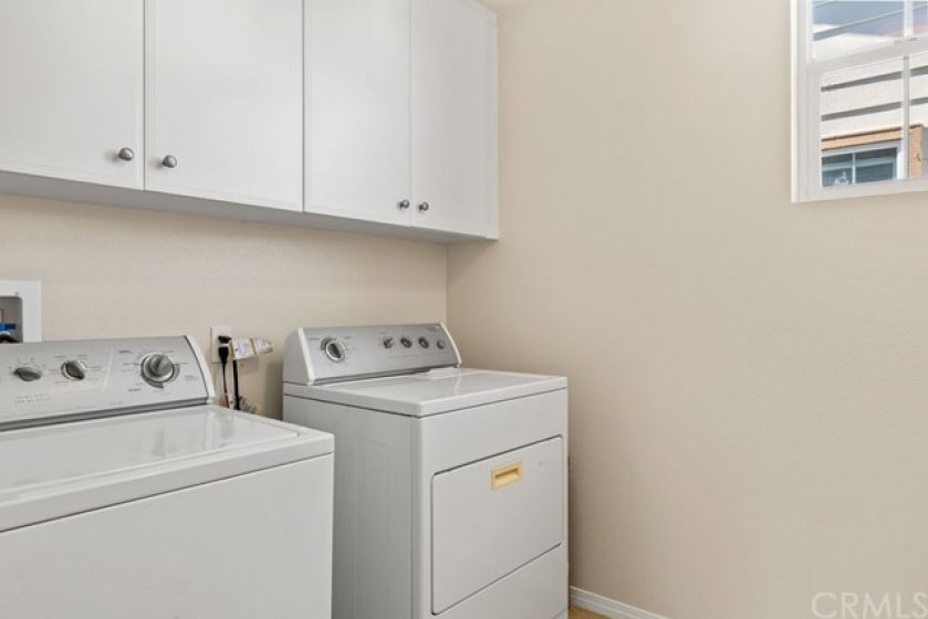 The laundry room is located on the second level, convenient to the bedrooms.