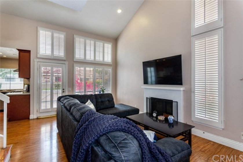 Check out the vaulted ceilings, fireplace and view to the front!