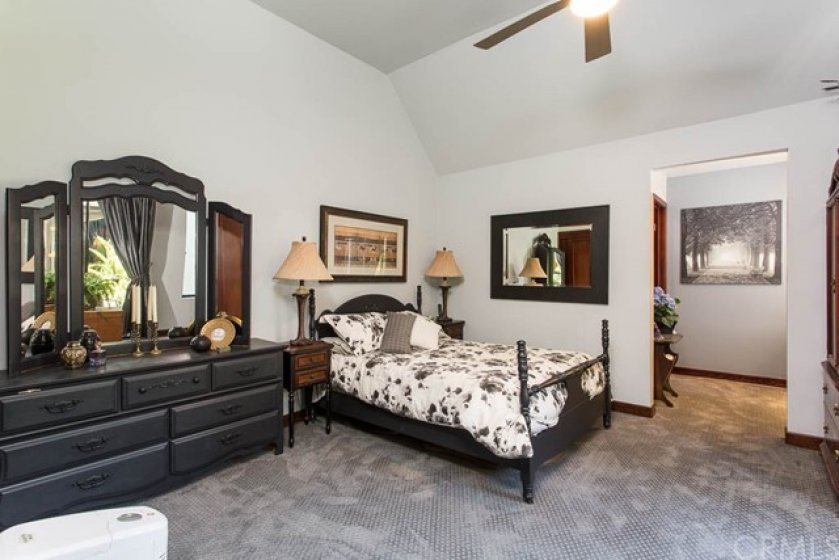 Master Bedroom with high ceilings and new carpet.