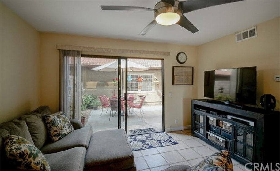 Family Room has access to patio and open to the kitchen.