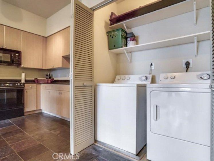 Indoor washer/dryer (included).