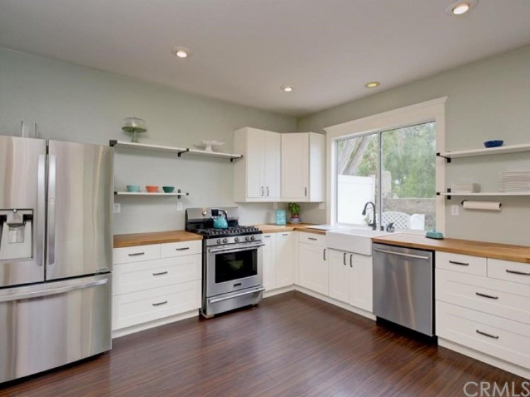 Stainless steel appliances and soft close drawers.