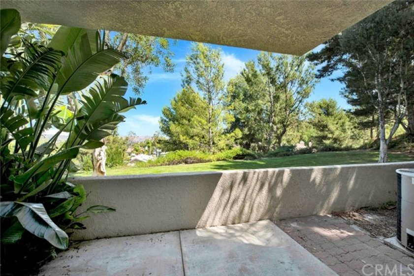 Private patio enclosed wth stucco wall