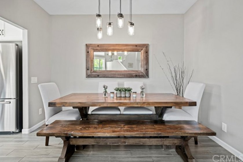 Ample space in dining room for a large table.