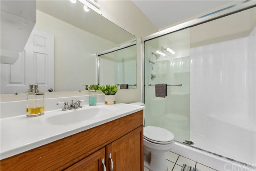 Master bathroom with updated shower.