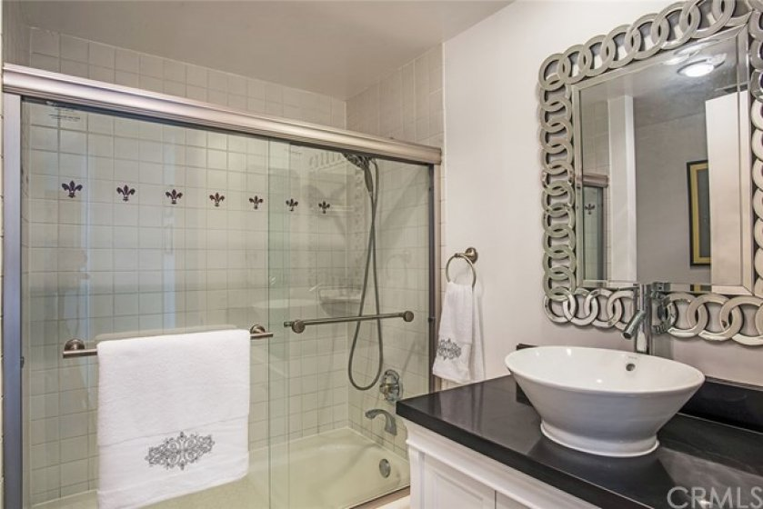 Remodeled secondary bathroom.