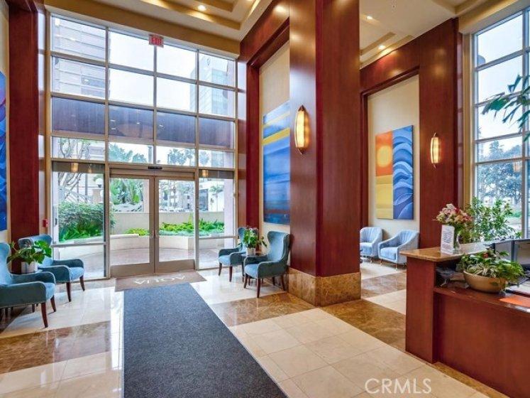 Lobby with concierge desk.