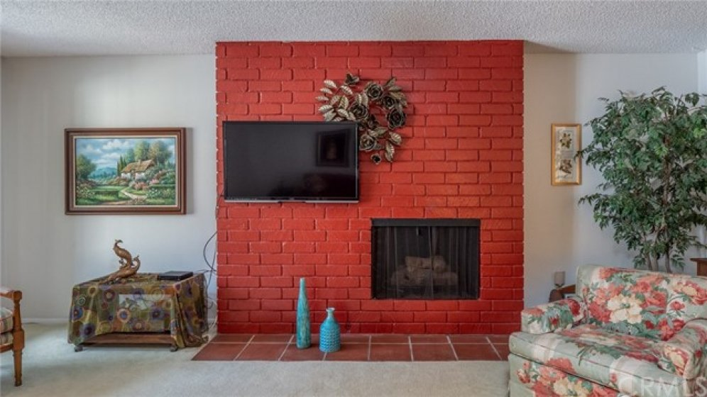 The living room has a gas mid century modern fireplace.
