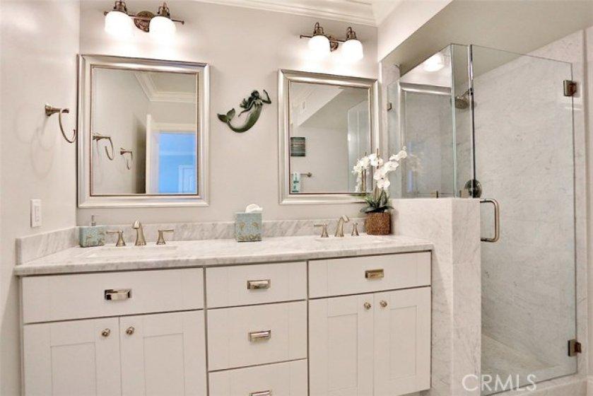 Dual sink master bathroom.