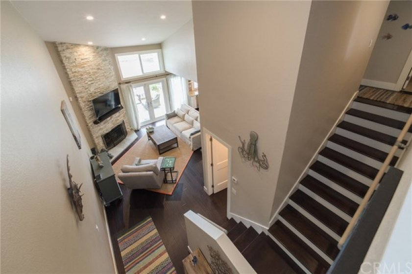 View of the living room from the loft upstairs