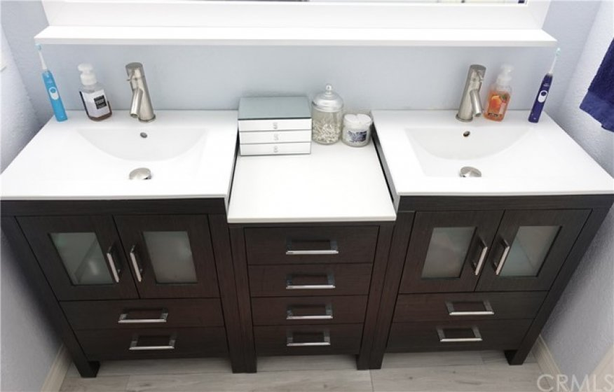 Beautiful upgraded double sink in master bath.