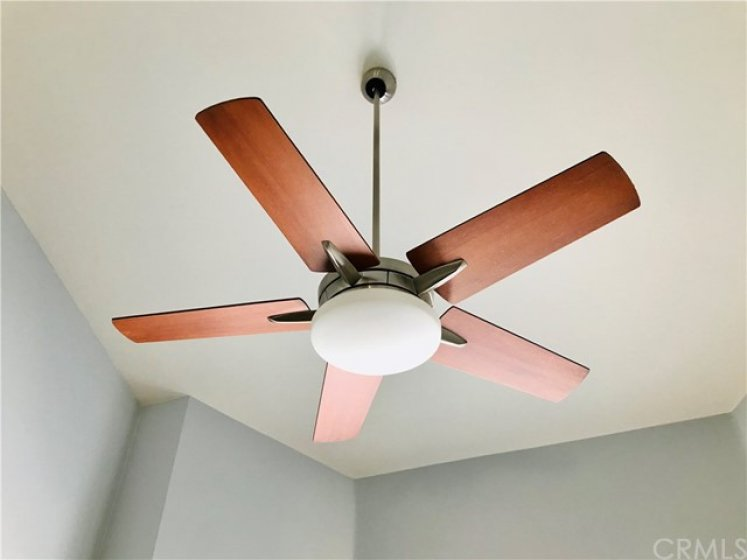 Ceiling Fan in the Dining area with Vaulted Ceilings
