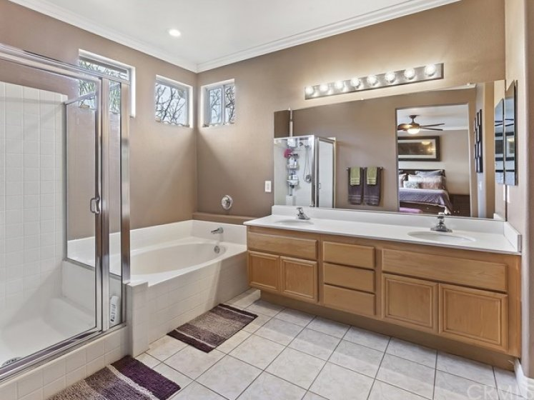 Shower, soaking tub, dual sinks. Right doorway leads to dressing area and linen cabinetry, walk-in closet and and then private water closet.