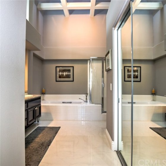 Master Bathroom with dramatic ceilings, walk-in closet and skylight