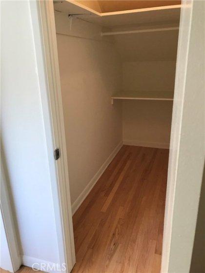 Left side view of walk-in/Storage closet