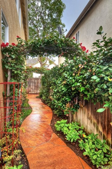 Pretty archway, herb garden, chili pepper and assorted herbs.