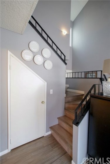 Staircase with storage below