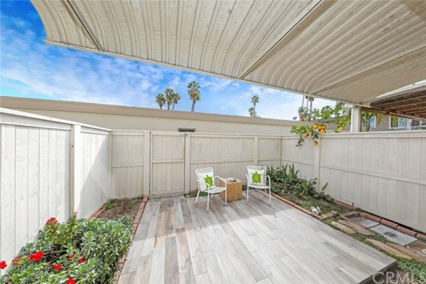 Back patio, with access to 2 car garage