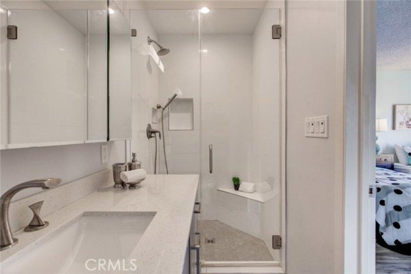 Enjoy a spacious walk in shower