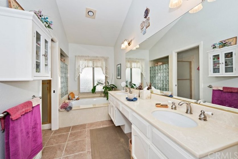 Spacious master bath with dual sinks, soaking tub and SEPERATE shower