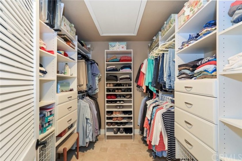 Walk-in Closet in the master bedroom with built-ins