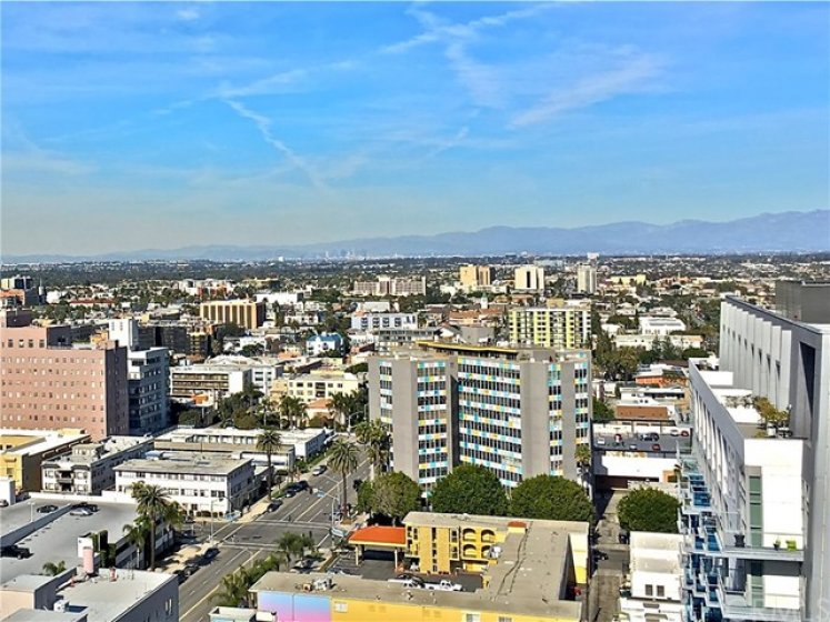 View of DT Los Angeles and Long Beach city skyline