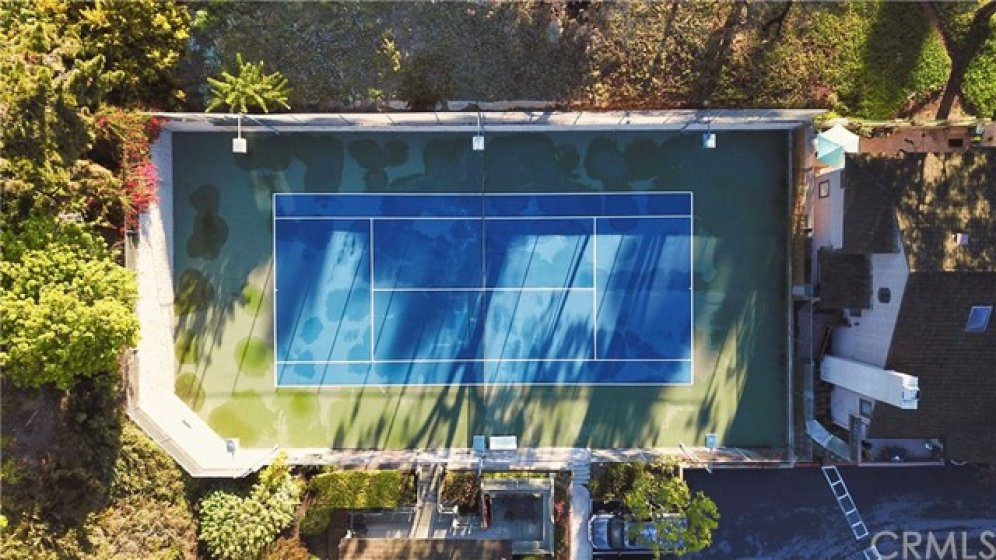 Private tennis court.