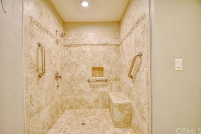 Extra large master shower.