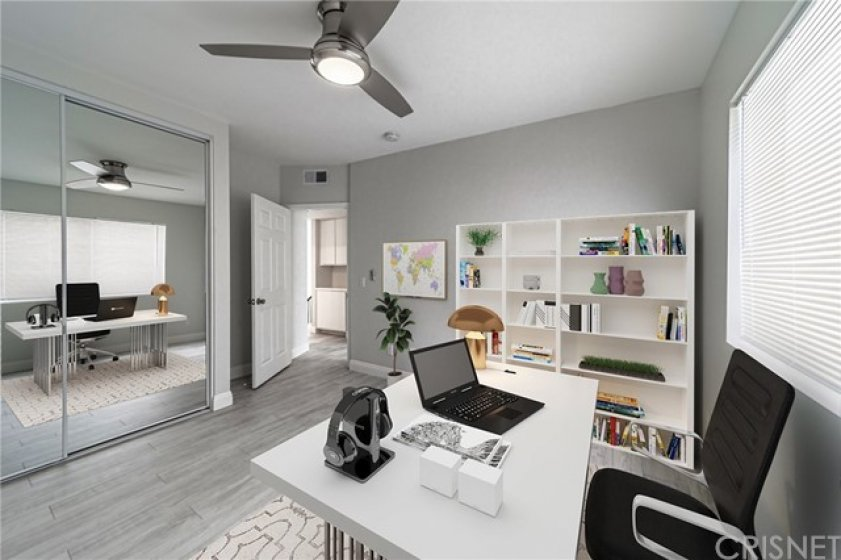 Staged bedroom used as an office