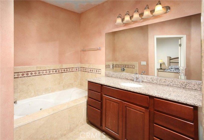 Sumptuous private en suite master bathroom with custom Venetian style paint scheme, granite crowned vanity, large dressing mirror, designer lighting, tiled jetted spa/soaking tub and tile floors.