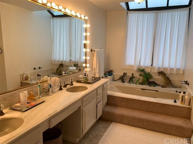 Master bathroom features double vanity