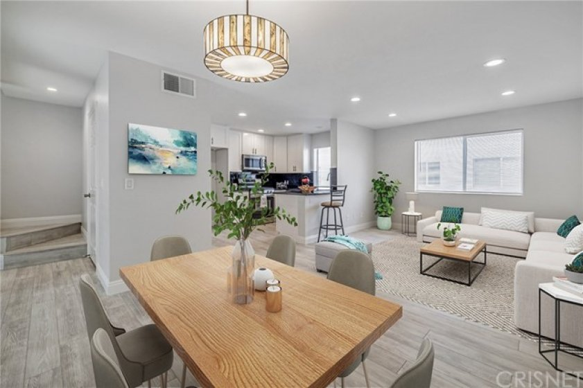 Staged dining room and family room