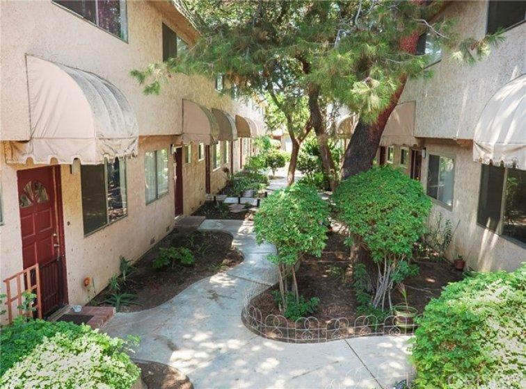Common area between buildings.