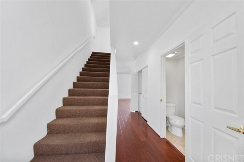 1/2 bath on main floor, stairs to bedrooms