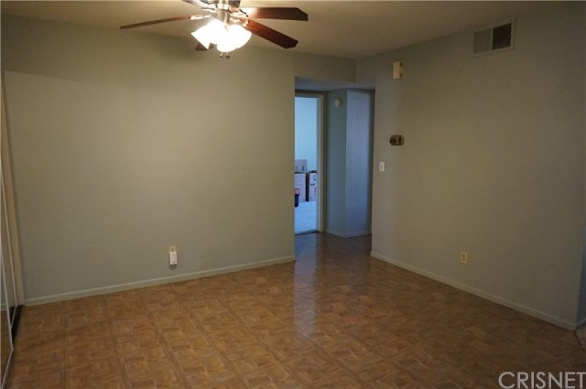 Dining area with entrances to bedrooms