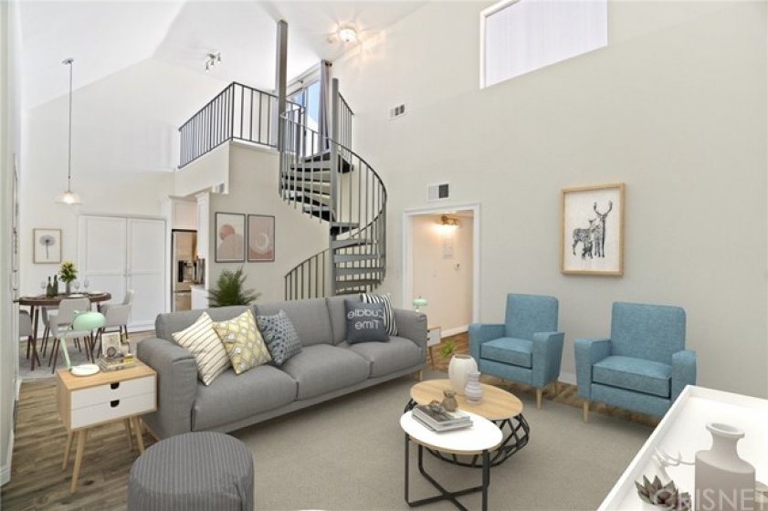 Living room to kitchen and loft - virtually staged