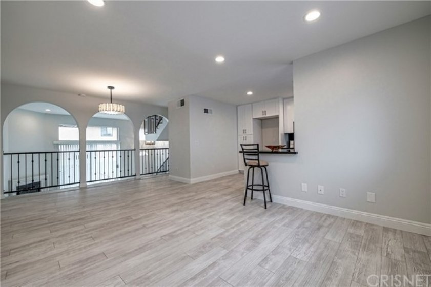 Dining room and family room without staging