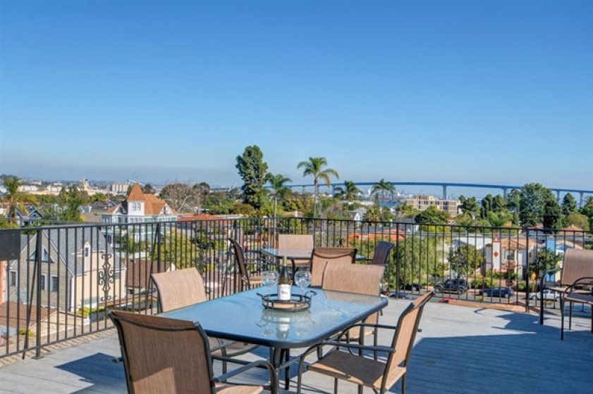 View of the Coronado bridge from both the Rooftop Deck and Bedroom 2!