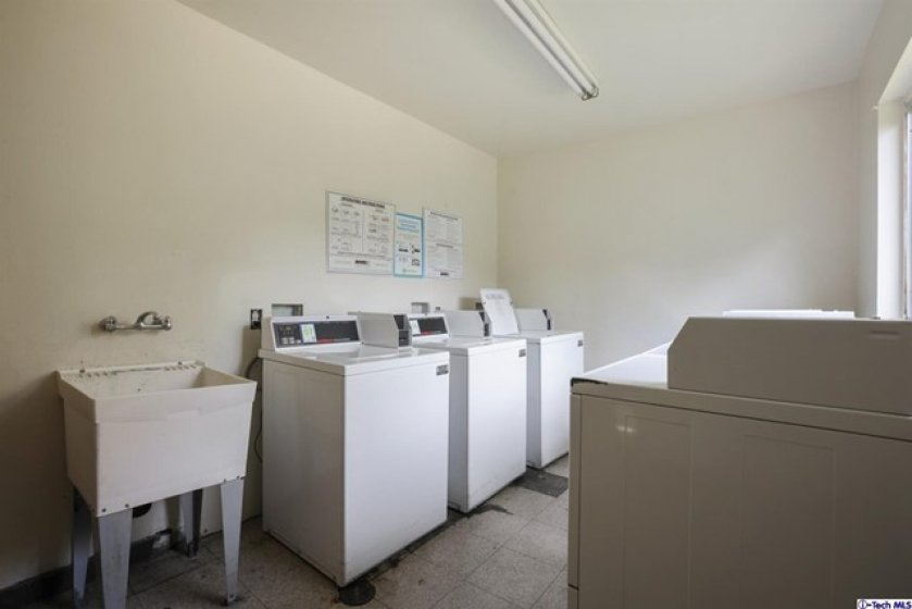 One of the two laundry rooms available.