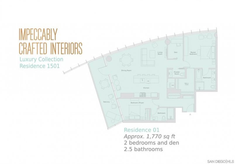 Modern and functional open floor plan! 2 Bedroom + Den/ 2.5 Baths. Approximately 1770 sq ft.