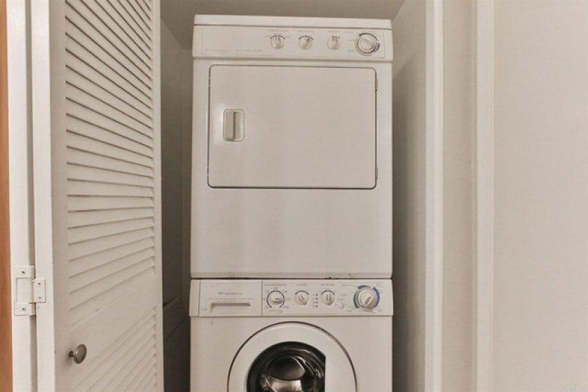 Stackable washer/dryer in bathroom closet