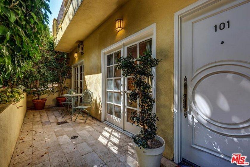 Spacious patios to e left...