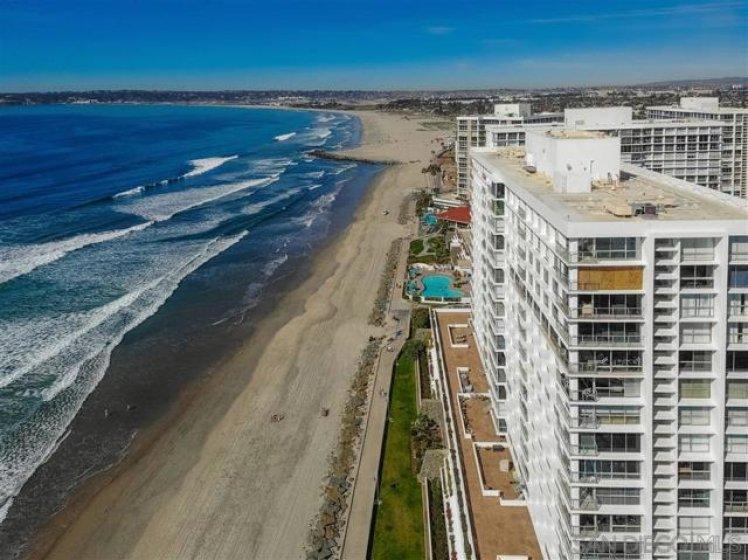 Aerial view of Coronado Beach and building