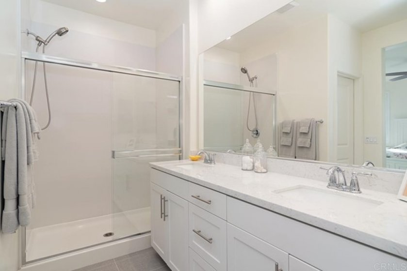 DUAL SINKS, WALK IN SHOWER