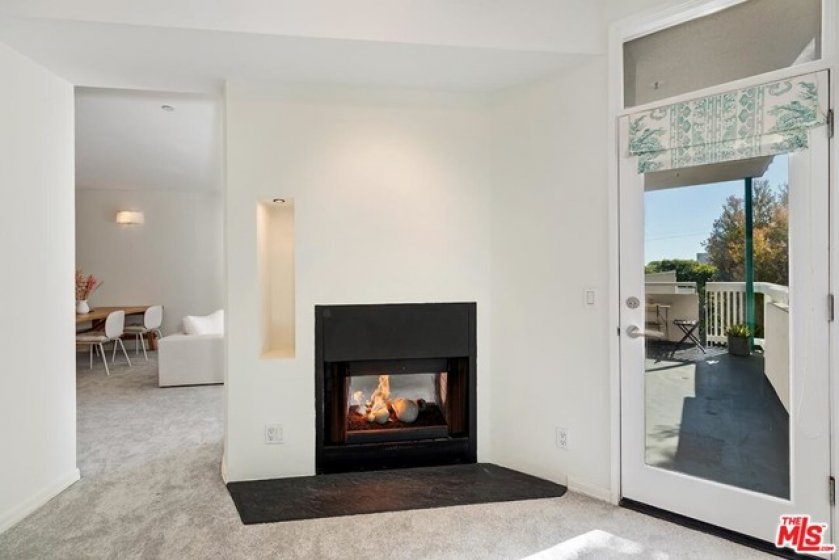 duel sided fire place in Office
