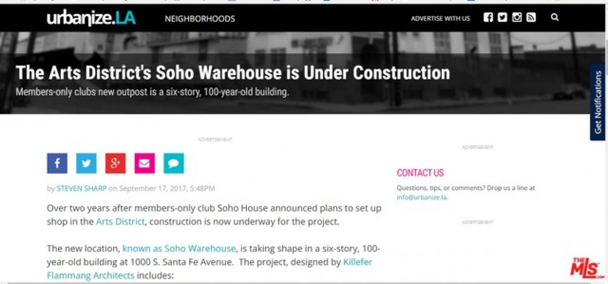 Famous Social Club Soho House is coming to Arts Districts